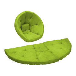 Fresh Futon - Nest Jr. Convertible Futon Chair/Bed, Lime Mattress - After a long hard day of making mud pies and intensive crayoning retreat snuggly to the Nest by lounger in this folded cone-shaped chair or nap hard on the unfolded mattress, you can even combine two for a wider naps or play surface. Winner of the Best Product Innovation Cup 2009. Available in 9 twill fabric color options.