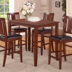 """East West Furniture - 5 Pc Buckland Counter Height Table and 4 Stools with Faux Leather Seat - 5 -Piece Buckland Counter Height Table 30""""X48"""" & 4 Stools with Faux Leather Seat In Mahogany Finish; This Buckland dinette set is the perfect addition to any modern home with its rectangular shape and alluring Mahogany finish.; The counter height table comfortably seats four people and offers plenty of leg room underneath.; Transition edges on the tabletop offer a touch of class to this modern Buckland counter height dining set.; Black bean faux leather seats coordinate well with the wood finish and provide padded surfaces to rest while dining.; Montrose-style dining chairs are counter height, and the lanky design of this Buckland dinette set gives the entire kitchen more dimension.; Weight: 136 lbs; Dimensions: Table: 48""""L x 30""""W x 36""""H; Chair: 18""""L x 17""""W x 42""""H"""