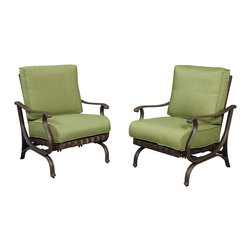 "Pembrey Patio Lounge Chair with Moss Cushion (2-Pack) - Mix and match cushions with ""Bare"" version at homedepot.com"