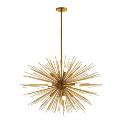 Zanadoo Large Gold Chandelier - Rich gold color accents a statement lighting option which hovers sculpturally overhead, its individual rods spreading into an exuberant firework of metallics that solidifies and enhances direction of the Zanadoo Large Gold Chandelier's flow of light.  Each individual bulb in this handsome, stylish ceiling light illuminates the golden metal as well as lighting up a space presided over by splendor.