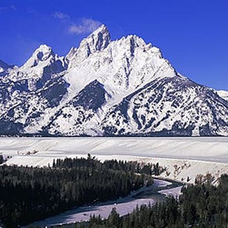 Magic Murals - Snowy Grand Tetons Panorama Wall Mural -- Self-Adhesive Wallpaper by MagicMurals - In the middle of winter, the Snake River and Grand Tetons mountains are iced over and covered in snow in Wyoming's Rocky Mountains.