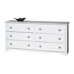 Prepac - Prepac Monterey White 60 Inch 6-Drawer Dresser - Get your clothes out of cramped quarters and into the Monterey 6 drawer dresser. Its 6 drawers will accommodate your growing wardrobe, and the scalloped base panel will satisfy your craving for a hint of flair. Display a mirror and other decorative accessories on top and turn this dresser into your bedroom's fashionable showpiece. Liven up your bedroom's decor by coordinating it with other members of the Monterey bedroom collection!