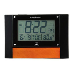 Howard Miller - Anaston Accutech LCD Alarm Clock - High gloss, Black, LCD alarm clock with Vintage Umber wood insert features a snooze alarm. Accuwave DS, radio controlled clock automatically sets itself and adjusts for daylight savings time. Large, 1-1/4 in. LCD numbers report the time. Display also shows day of week, month, date, and temperature in degrees F or C. A blue LED light illuminates the display in the dark at the touch of a button. Selectable 12 or 24 hour time format. Radio controlled, battery operated movement, includes 2 AAA batteries. 6 1/2 in. W x 2 in. D x 4 1/2 in. H
