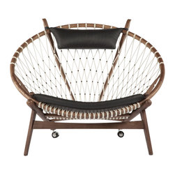 Stilnova Wood Hoop Lounge Chair - Built upon a base of solid ash hardwood, the seat and the back of the Hoop chair are formed around a solid ash hoop. All wood is finished in a dark walnut stain. Woven onto this frame is a network of braided cordage. The chair has added comfort delivered through the leather-covered seat cushion and headrest.
