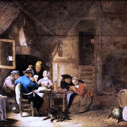 "Hendrick Maertensz Sorgh Interior with Peasants Playing Cards  Print - 18"" x 24"" Hendrick Maertensz Sorgh Interior with Peasants Playing Cards premium archival print reproduced to meet museum quality standards. Our museum quality archival prints are produced using high-precision print technology for a more accurate reproduction printed on high quality, heavyweight matte presentation paper with fade-resistant, archival inks. Our progressive business model allows us to offer works of art to you at the best wholesale pricing, significantly less than art gallery prices, affordable to all. This line of artwork is produced with extra white border space (if you choose to have it framed, for your framer to work with to frame properly or utilize a larger mat and/or frame).  We present a comprehensive collection of exceptional art reproductions byHendrick Maertensz Sorgh."
