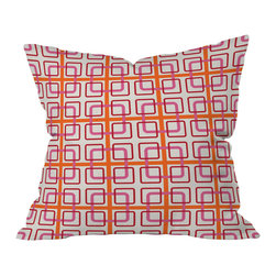 DENY Designs - Caroline Okun Miami Knot Throw Pillow, 18x18x5 - Mixing geometric patterns into your decor is a great way to add some modern liveliness. Caroline Okun's intricate interlocking square knots are softened by rounded edges and closely related colors. The tropical pink and orange combo, popular in the '60s, is sure to perk up your space.