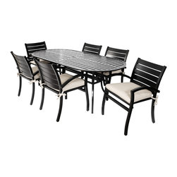 "MiYu Furniutre - Modern 7pc Dining Set with Cushions, Black - The Modern Collection 7pc Dining Set includes 6 arm chairs and one 82"" oval table. Featuring a contemporary design, durable aluminum construction, black powder coat finish, and all-weather cushions, this collection can rejuvenate any outdoor living space while providing exceptional comfort."