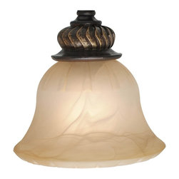 Golden Lighting - Jefferson Antique Marbled Glass Shade - Bulb not included. Neckless. 7 in. Dia. x 4.5 in. H. Warranty