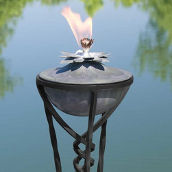 Lotus Zinc Garden Torch with Braided Yard Stake - Weathered Zinc - Add this decorative torch to your patio to provide light and repel insects. The Lotus Zinc Garden Torch will provide timeless beauty and use for years to come.