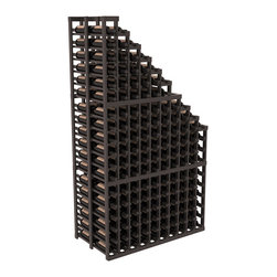 Double Deep Wine Cellar Waterfall Display Kit in Pine with Black Stain + Satin F - The same beautiful cascading waterfall but in a double deep capacity. Displays 18 choice vintages in a tiered fashion. Designed within our modular specifications and to Wine Racks America's superior product standards, you'll be satisfied. We guarantee it.