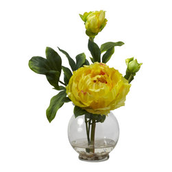 """Nearly Natural - Peony w/Fluted Vase Silk Flower Arrangement - WOW! Does this make a statement, or what? Bold and beautiful, this Peony is an explosion of color that demands attention. With its large center bloom surrounded by lush greenery, it draws the eye and doesn�t let go. Complete with smaller blooms that say """"me too"""", this is the perfect adornment for a desk, library, or anywhere else you want to liven up. Comes complete with a fluted bowl and faux water. Makes a perfect gift as well."""