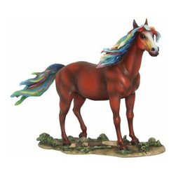 WL - Brown Stallion Horse with Colorful Rainbow Mane Display Figurine - This gorgeous Brown Stallion Horse with Colorful Rainbow Mane Display Figurine has the finest details and highest quality you will find anywhere! Brown Stallion Horse with Colorful Rainbow Mane Display Figurine is truly remarkable.