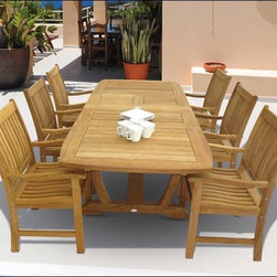 "Fifthroom - 64"" Teak Expansion Table and Compass Arm Chair Set -"
