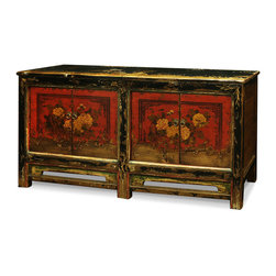 "China Furniture and Arts - Elmwood 4-Door Mongolian Cabinet - Sporting a weathered and worn look, this unique cabinet's doors display a gorgeous orange flower arrangement on a red background, painted by hand and aged to perfection. Two spacious double-door compartments measuring 28""W x 13.5""D x 22""H each provide ample storage space and contain a removable shelf for your convenience. Perfect as a sideboard in the dining room or media cabinet in the living room . Fully assembled."