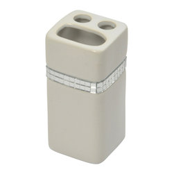 Stoneware Toothbrush Holder Rhinestone Bright White - This elegant toothbrush for bathrooms is in stoneware with shiny rhinestones and will add a contemporary look and feel to your decor. This toothbrush holder is a lovely accent for any bathroom and has three slots for toothbrushes and toothpaste. It features a length of 2.36-Inch, a width of 2.36-Inch and a height of 4.72-Inch. Wipe clean with soapy water. Color bright white. Accessorize your bathroom countertop in a trendy style with this charming toothbrush holder! Complete your decoration with other products of the same collection. Imported.