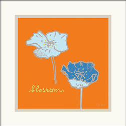 Amanti Art - Poppies Framed Print by Peter Horjus - Peter Horjus illustration series is both funky deco and ironically naturalistic. Playful blue poppies - like silhouettes are featured on the vibrant orange background.