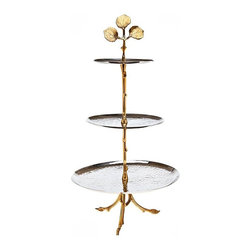 "Godinger Silver - Leaf Design Three Tier Server - Desserts just got better.... Inspired by nature, and modern arts this divine 3 tiered buffet server juxtaposes hammered stainless, and brass leaf design! Tower your appealing delectable for an even more attractive display at your celebration!   * Dimensions: 11.63"" diameter x 22.5"" tall"