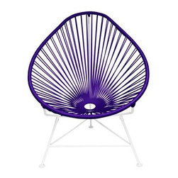 "Innit - Innit Acapulco Chair - Purple Weave on White Frame - ""Relax in cool, contemporary style with this hot-weather Acapulco lounge chair from Innit Designs. Whether enjoying a tropical sunset from the patio or lounging poolside with friends, the chair combines comfort with an eye-catching design. Inspired by the airiness of backyard rope hammocks, the 1940s-style Acapulco lounge chair uses a traditional Mayan weaving technique to create a modern take on the classic woven chair. The chair's waterproof, UV-resistant vinyl cord comes securely wrapped around its recycled, rust-resistant, galvanized-steel frame, which provides a semi-textured polyester powder-coat for long-lasting durability and good looks from one season to the next. The Acapulco lounge chair's woven vinyl not only offers visual appeal and breathability, but also exceptional support and comfort (no cushion needed). The Acapulco lounge chair works well as an accent piece on its own or to create a visiting area when paired with more than one (additional chairs sold separately). Keep all the chairs the same color to complement surrounding decor, or mix it up for a bold, vibrant color scheme that reflects your personal sense of style. The Acapulco lounge chair comes in a vast array of vibrant colors.Dimensions: 30"""" wide by 35"""" deep by 35"""" high with 14"""" sitting heightModern lounge chair with woven UV-resistant vinyl cord for breathability and supportRust-resistant, galvanized-steel frame and semi-textured polyester powder coatWeatherproof, stackable, and easy to cleanPear-shaped frame and tripod base; for indoor/outdoor and residential/commercial use"""