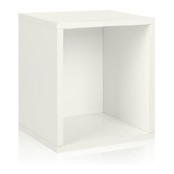 Way Basics - Way Basics Bookcases zBoard Eco 15.5 in. x 13.4 in. White Stackable Storage - Shop for Storage & Organization at The Home Depot. Stackable Modular Storage-cubes Plus. Simple design solution and eco-friendly furniture. An excellent home organizer for modern living. Behold our most basic creation flexing its muscles. Truly modular in every sense of the word there are endless configurations and possibilities for the design guru. Each Cube is separate from each other so you can satisfy your design itch when you feel like changing things up a bit. Stack them side to side on top of each other or get creative and build a pyramid and ladder design. Mix and match colors or just keep it simple with a single shade. Check out the additional images for ideas and send us your creations too. To assemble zBoard storage products simply peel stick done. Tool-free and hardware free. Super strong 3M heavy duty adhesive bonds the boards together. All our products are formaldehyde free and VOC free so it's safe for your family and our environment. Color: White.