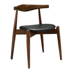 Modway Furniture - Modway Stalwart Dining Side Chair in Dark Walnut Black - Dining Side Chair in Dark Walnut Black belongs to Stalwart Collection by Modway Trusted and dependable, the Stalwart solid beech wood dining chair is a model for a design made right. From the elongated backrest to the petite but discriminate tapered legs, Stalwart combines diverse woodworking elements for a singular style that pleases the finest sensibilities. Complete with a comfortable foam cushion upholstered in vinyl, Stalwart is a side dining chair that looks simple but carries a deep richness that is best appreciated over time. Set Includes: One - Stalwart Dinng Chair Side Chair (1)