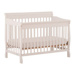 Stork Craft - Stork Craft Modena 4 in 1 Fixed Side Convertible Crib in White - Stork Craft - Cribs - 04587451 - Offering classic comfort and style the Modena crib will grow with your baby in a few simple steps.  Inclusive of a toddler rail this versatile crib converts to a toddler bed daybed and finally to a full-size bed.  With its classic sleigh design and solid construction the Modena combines form and function to ensure your child a safe and restful sleep.