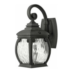 "Hinkley - Hinkley 1946MB Forum 12-3/4"" 1 Light Incandescent Outdoor Wall Sconce in Museum - Forum's distinguished silhouette features cast aluminum construction in a French Bronze finish with decorative cast detailing and generous panels of seedy water glass.Add safety and beauty to your outdoors with an outdoor wall sconce Cast aluminum provides excellent durability and convenient light weight Rated for wet location useADA Compliant: No Backplate Height: 6-1 2 Backplate Width: 4-3 4 Bulb Type: Incandescent Bulbs Base: Medium Collection: Forum Dark Sky: No Energy Star Compliant: No Extends: 7-1 2 Finish: Museum Black Glass: Seedy Water Glass Height: 12-3 4 Light Direction: Ambient Material: Aluminum Number of Lights: 1 Safety rating: C-US Wet Rated Voltage: 120 Wattage: 40 Weight: 5 Width: 5-1 2"