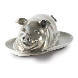 Pewter Pig Butter Dish - A very happy and satisfied pig, Detailed farm yard friend brings cheer to your table while keeping your butter fresh and cool. The figural pewter lid rests upon a porcelain butter plate.