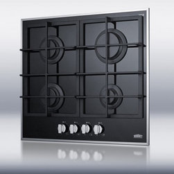 Summit - GC424BGL Natural Gas Cooktop With 4 Sealed Burners  Continuous Cast Iron Grates - Made in Italy for SUMMIT our deluxe gas-on-glass cooktops offer the ideal cooking experience for modern kitchens