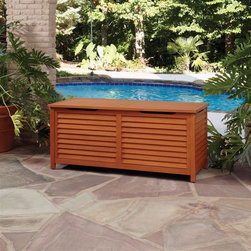 HomeStyles - Montego Bay Outdoor Large Deck Box - Eco-friendly, plantation grown Shorea wood. Pressure hinges for soft closing. Natural resistance to water. Stainless steel hardware. Dimensions: 58 in. W X  24 in. D X  25.25 in. HMontego Bay Large Deck Box is just what you've been looking for to meet your outdoor storage needs. Showcasing an island inspired design in a versatile Eucalyptus finish. Construction includes eco-friendly, plantation grown Shorea wood which is known for its exceptional durability and natural resistance to water. Features pressure hinges for soft closing. This box is large enough to store all your outdoor accessories and is completed with stainless steel hardware.  Size: 58w 24d 25.25h. Inside storage size: 55.75w 21.75d 22.5h.