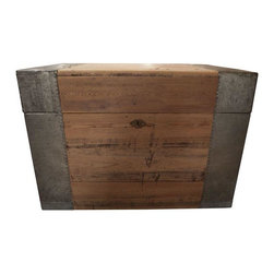 Pre-owned Vintage Wooden Chest with Metal Border - Vintage wooden chest with metal border.  Warm wood & cool metal make a great contrast of materials.  Perfect size to place at the end of a small bed, or use as a coffee table.  Opens and closes with ease, but sorry no key.
