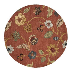Jaipur Rugs - Jaipur Rugs Hand-Tufted Floral Wool/Art Silk Red/Multi Round Area Rug, 8 x 8ft - Inspired by bold ethnic textiles and the rich hues of Indian spices, the Blue Collection encourages individual expression with a modern flare. Embellishing this mix of playful colors, some designs incorporate a raised carving effect and art silk accents. The Blue Collection combines fluid lines with highly textured hand-tufting for a look that's eye-catching, functional and quintessentially Jaipur.