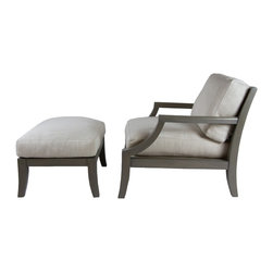 A. Rudin Library Grey Chair and Ottoman - Dimensions:L 30''  × W 38''  × D 32''