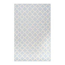 Safavieh - Hugo Hand Tufted Rug, Light Blue / Ivory 3' X 5' - Construction Method: Hand Tufted. Country of Origin: India. Care Instructions: Vacuum Regularly To Prevent Dust And Crumbs From Settling Into The Roots Of The Fibers. Avoid Direct And Continuous Exposure To Sunlight. Use Rug Protectors Under The Legs Of Heavy Furniture To Avoid Flattening Piles. Do Not Pull Loose Ends; Clip Them With Scissors To Remove. Turn Carpet Occasionally To Equalize Wear. Remove Spills Immediately. Bring classic style to your bedroom, living room, or home office with a richly-dimensional Safavieh Cambridge Rug. Artfully hand-tufted, these plush wool area rugs are crafted with plush and loop textures to highlight timeless motifs updated for today's homes in fashion colors.