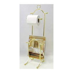 Taymor - Taymor Magazine Rack and Toilet Tissue Holder - Floor standing. Holds magazines and single roll toilet tissue. Wipe with clean and soft damp cloth. Do not use polishes, chemicals or abrasives. Manufacture Warranty: 1 year. Made from steel. Polished brass finish. No assembly required. 6.89 in. W x 8.66 in. D x 26.77 in. H (3.9 lbs.)