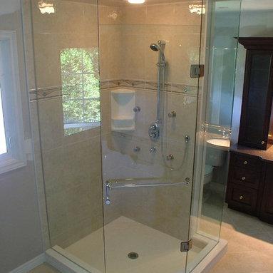 Custom Shower enclosure - neo angle with chrome hardware