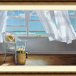 Amanti Art - Karen Hollingsworth 'Sense Memory' Framed Art Print 44 x 33-inch - In Sense Memory by Karen Hollingsworth a coastal breeze gently ruffles aside the gauzy curtain to allow for a view out to the cerulean ocean.
