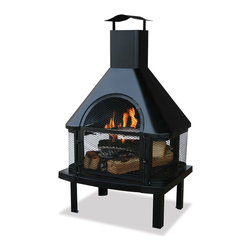 Garden Treasures - Garden Treasures WAF1013C Black Firehouse w/ Chimney - This outdoor fire pit features a powder coated black finish