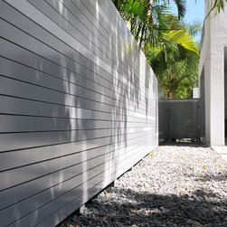"""Grove Project - AlumiSlat Fence:  3"""" slats encompass clean lines and exact separations throughout.  6' height delivers complete privacy while provides a fabulous design."""