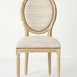 """Anthropologie - Circleback Dining Chair - Cloudy burned finishOak wood frame Cotton upholstery; foam fillSpot clean40""""H, 19.75""""W, 23.5""""DSeat: 19.75""""HImported"""