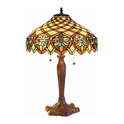 Warehouse of Tiffany - Ariel Shade Table Lamp - 2 Pull chain. Requires one 25W candelabra. Requires two 60W bulbs . Has brightly multiple colors, shade of Yellow is dominant. Has more than 200 pcs. of cut glass. Each glass is individually cut wrap around copper foil and soldered together. Minimal assembly required. 16 in. L x 16 in. W x 28 in. H (15 lbs.)Tiffany Style Arielle Shade Table Lamp. It has brightly multiple colors, shade of Yellow is dominant. It also has a touch of Green and Red. It has more than 200 pcs. of cut glass individually cut wrap around copper foil and soldered together.