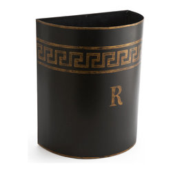 Greek Key Waste Bin Set - You can do something good for the earth without compromising style with this set of waste bins. One is labeled T for trash and the other has an R for recyclable materials. The design is modeled after early Greek designs in painting and architecture, and the gold embellishments are antiqued to give them that Old World style.