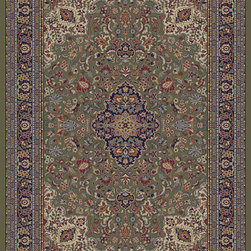 """Concord Global - Concord Global Jewel Heriz Green 6'7"""" x 9'6"""" Rug (4105) - Jewel collection is machine-made in Turkey using 100% heat-set polypropelene. These traditional to contemporary rugs will make a colorful addition to any area."""