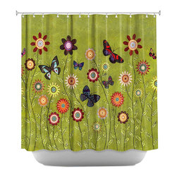DiaNoche Designs - Shower Curtain Artistic - Bohemian Butterflies - DiaNoche Designs works with artists from around the world to bring unique, artistic products to decorate all aspects of your home.  Our designer Shower Curtains will be the talk of every guest to visit your bathroom!  Our Shower Curtains have Sewn reinforced holes for curtain rings, Shower Curtain Rings Not Included.  Dye Sublimation printing adheres the ink to the material for long life and durability. Machine Wash upon arrival for maximum softness on cold and dry low.  Printed in USA.