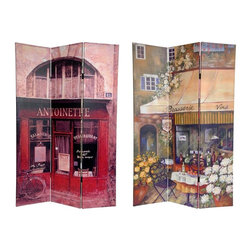 Oriental Unlimited - 6 ft. Tall Double Sided Brasserie Canvas Room - One double-sided divider, both sides shown in image. Unique, turn of the century French street restaurants painted in a vintage style adorn each side of this screen. 1 Side features a brasserie with a sloping awning and the other side a dinner spot with a red painted front. Attractive imagery and rich colors make this a beautiful decorative accent for any room- living room, bedroom, dining or kitchen. Carefully constructed reinforced wood frames- hardy, kiln dried Spruce- covered top to bottom, front, back, and on the edges with a stretched poly-cotton blend canvas. Printed with high saturation ink to create a beautiful, long lasting, vivid image. Almost entirely opaque- very little light can pass through the double layer of canvas, offering complete privacy, very tough and durable, yet light and portable. Great for dividing space, providing privacy, hiding unsightly areas or equipment, background for plants or sculptures or defining a cozy space. Simple, beautiful decorative art, with a vintage feeling. A strong durable and practical high quality room divider great for home, office or small business. Each side has a different image as shown. Available in 3 panels only. Provides about 3.5 ft. of width displayed as shown