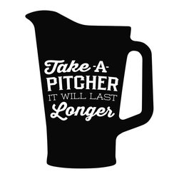 """Alpha-Tone - Take A Pitcher Wall Decal - Alpha-Tone has turned the snarky """"Don't stare!"""" comment of your youth into a useful reminder with this vinyl wall decal. Remember, buying a pitcher for the table and sharing is always nicer than stingy single-person beers. Share the love."""