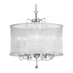 Dainolite Lighting Vanessa 5-Light Medium Crystal Chandelier, White - Classic with a modern twist, this is the perfect marriage of two styles and the perfect way to bring a fresh look into your home.