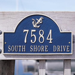 """Frontgate - Anchor Arch Wall Plaque - Crafted from rust-free recycled cast aluminum. Paints have been specially formulated and weather-tested to withstand even the harshest elements. Designed to provide maximum visibility to meet local """"911"""" emergency standards. Easily assembles with a screwdriver. Please check for accuracy; personalized orders cannot be modified, cancelled, or returned after being placed. Display your passion for all things nautical with our Anchor Arch Address Plaques. Perfect for the beach house, or to serve as a pleasant reminder of your vacation home, this handsome address plaque is adorned with a cast anchor.. . . . . Made in the USA. For over 60 years, Whitehall has been crafting personalized name and address plaques to provide a distinctive finishing touch to millions of homes. Renowned as the world's largest manufacturer of personalized name and address plaques, Whitehall's reputation for quality and reliability is unsurpassed."""
