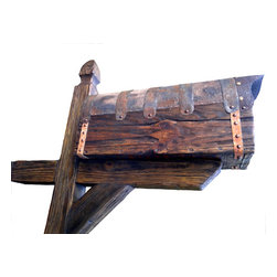 Bezaleel Orthodox workshop - Rustic Hand Carved Mailbox With Post - Rustic hand carved mailbox with post. Made from new wood, new metal. Pine, metal, plastic for box inside. Hand forged metal, hand carved wooden nails. Everything is new, made in rustic style. Will work for you very long time!