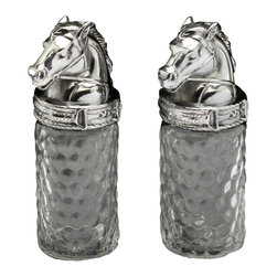 Arthur Court - Horse Salt & Pepper Set - Don't simply season your food — celebrate your love of horses at the same time. These glass salt and pepper shakers topped by sculpted aluminum horse heads will lend a gracious accent to your traditional table.