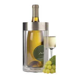 PRODYNE - Acrylic Steel Wine Cooler - Hold the ice. This cooler keeps your wine at the proper temperature longer than it will probably take you to drink it. Add a pre-chilled bottle and the acrylic double walls keep it insulated. There's no ice and no wet, peeling label.